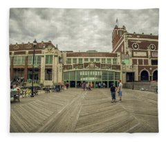 Fleece Blanket featuring the photograph Asbury Park Convention Hall by Steve Stanger