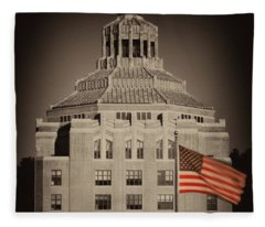 Asheville City Hall Sepia Fleece Blanket