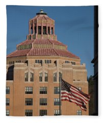 Asheville City Hall With Flag Fleece Blanket