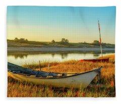 Boats In The Marsh Grass, Ogunquit River Fleece Blanket