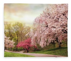 Asian Cherry Grove Fleece Blanket