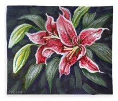 Asian Lily Sketch Fleece Blanket