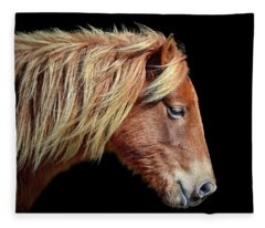 Assateague Pony Sarah's Sweet Tea Portrait On Black Fleece Blanket