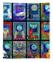 Astrology Cat Zodiacs Fleece Blanket