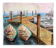 At The Dock In Gloucester Massachusetts Fleece Blanket