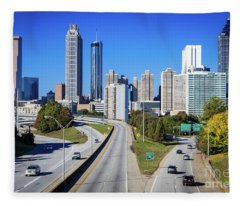 Atlanta Ga Skyline - Jackson St Bridge 1 Fleece Blanket