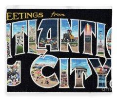 Atlantic City Greetings #2 Fleece Blanket