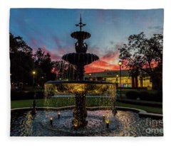 Augusta University Fountain Sunset Ga Fleece Blanket