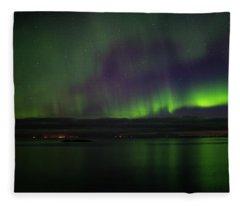 Aurora Borealis Reflecting At The Sea Surface Fleece Blanket