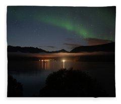 Aurora Northern Polar Light In Night Sky Over Northern Norway Fleece Blanket