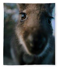 Australian Bush Wallaby Outside During The Day. Fleece Blanket