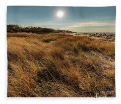 Autumn At The Beach Cape Cod Fleece Blanket