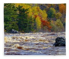 Autumn Colors And Rushing Rapids   Fleece Blanket