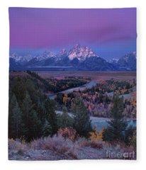 Autumn Dawn Snake River Overlook Grand Tetons Np Wyoming Fleece Blanket