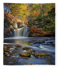 Autumn Day At Doane's Falls Fleece Blanket