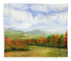 Autumn Day Watercolor Vermont Landscape Fleece Blanket