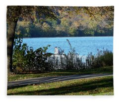 Autumn Fishing Fleece Blanket