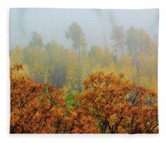 Autumn Foggy Day Fleece Blanket