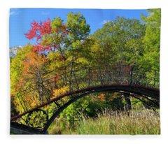 Autumn Footbridge Fleece Blanket