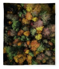 Autumn Forest - Aerial Photography Fleece Blanket