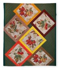 Autumn Fruit And Leaves Fleece Blanket