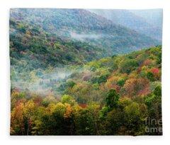 Autumn Hillsides With Mist Fleece Blanket