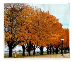 Autumn Leaves In Menominee Michigan Fleece Blanket