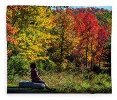 Autumn Leaves In The Catskill Mountains Fleece Blanket