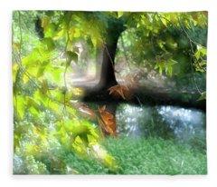 Autumn Leaves In The Morning Light Fleece Blanket