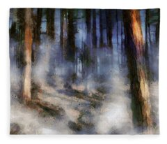 Autumn Morning Fog Fleece Blanket