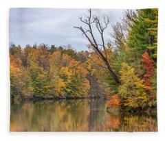Autumn On The Oswego River Fleece Blanket
