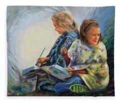 Autumn Paintout Fleece Blanket