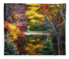 Autumn Pond With Rowboat Fleece Blanket