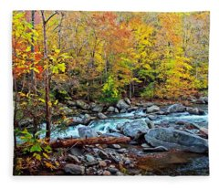 Autumn River Memories Fleece Blanket