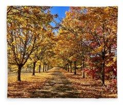 Autumn Road Fleece Blanket