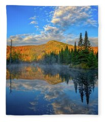 Autumn Sky, Mountain Pond Fleece Blanket