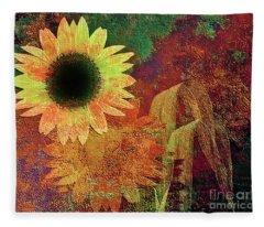 Autumn Sunflower Absrtact Fleece Blanket