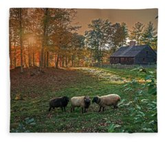 Autumn Sunset At The Old Farm Fleece Blanket