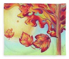 Autumn Wind And Leaves Fleece Blanket