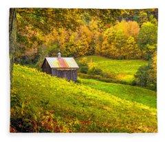 Autumnal Barn Fleece Blanket
