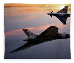 Avro Vulcan Xh558 And Eurofighter Typhoon Gina. Fleece Blanket