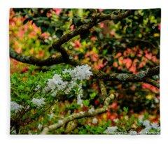 Azaleas Under A Dogwood Tree Fleece Blanket