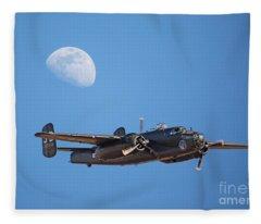 B-25 Bomber And Gibbous Moon Fleece Blanket