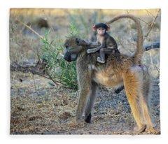 Baboon And Baby Fleece Blanket