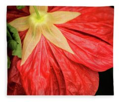Back Of Red Flower Fleece Blanket