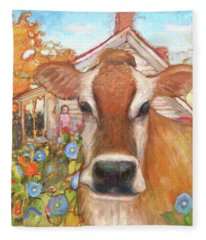 Backyard Cow Fleece Blanket