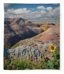 Badlands Sunflower - Vertical Fleece Blanket