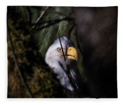 Bald Eagle Behind Tree Fleece Blanket