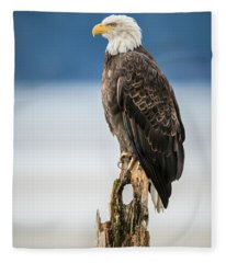 Bald Eagle On Snag Fleece Blanket
