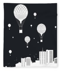 Balloons And The City Fleece Blanket